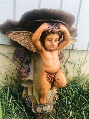 "16"" Antique Angel Cherub Carved Wood Baroque Vivid Paint Color Wall Sconce Shelf"