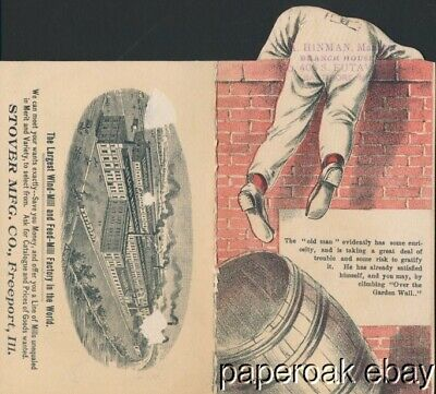 ca1890 Stover Mfg. Co. Freeport, Ill. Ideal Wind Mills & Feed Mills Trade Card