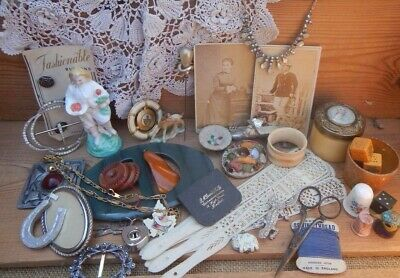 Job Lot Antique/Vintage Pretty Ladies Drawer Finds Jewellery~Sewing~Trinkets Etc