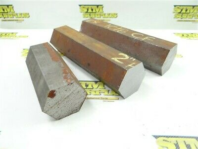 """20.5Lbs 3Pc 1018 Cf Solid Steel Hexagon Stock 2"""" X 5"""" To 8"""""""