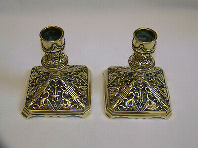 A Fine Pair Of Antique Ornate Tonks & Sons Cast Brass Candlesticks Lights Wt&S.