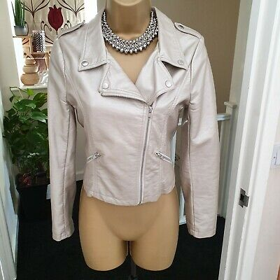 Girls USA Forever 21 Gold Biker Jacket Age 13-14 Shiny Faux Leather Zip Cropped