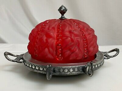 Antique Benedict Silverplate Butter Dish Red Satin Glass  -  59903