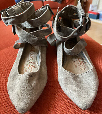 Next Girls Grey Strappy Ballerina Shoes With Buckle Fastenings Size 12