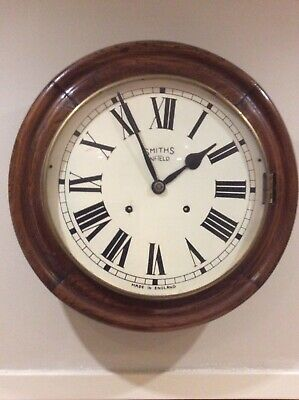 Antique Oak Cased Smiths Enfield Station Clock 41cm Or 16inch
