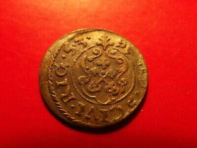 Sweden 1653 Livonia Queen Chistina RIGA solidus silver Medieval 30 years coin