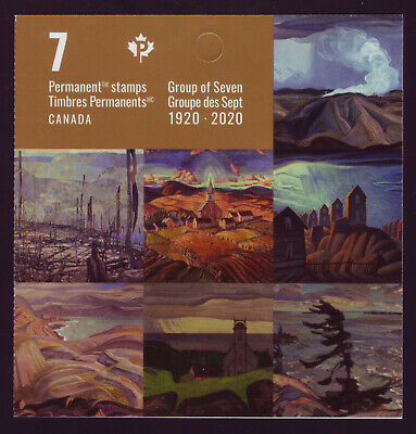 """CANADA 2020 Group of Seven 1920-2020 Booklet with 7 """"P"""" Paintings by Group MNH"""