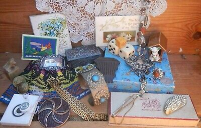 Job Lot Vintage Pretty Ladies Drawer Finds Jewellery~Trinket Box~Collectables