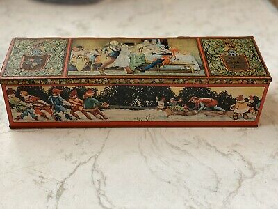Rare Tindeco Christmas Tin Candy Treat Container Box Antique