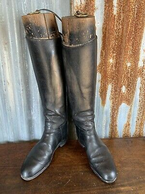 Antique Vintage Black Leather Riding Boots Wooden Boot Lasts Boot Trees