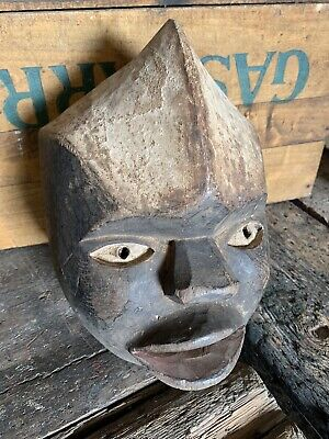 Antique Vintage African Tribal Salampasu Carved Wooden Wood Face Head Mask Congo
