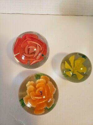 Lot Of Floral Inspired Heavy Glass Paperweights