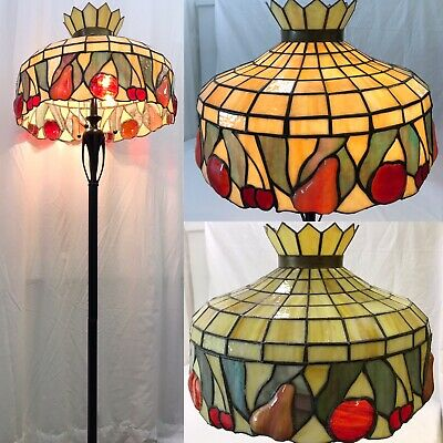 "Large 20"" Antique Vtg Arts & Crafts Leaded Slag Stained Glass Lamp Shade, Fruit"