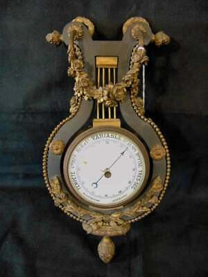 French Patinated Gilt Bronze Aneroid Barometer Empire Ormolu floral wreath clock