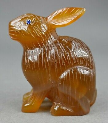 Fine Antique Russian Karl Faberge Carved Carnelian Agate Topaz Rabbit Figure