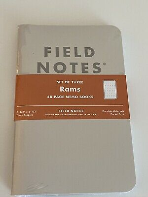 Field Notes Rams 3-Pack of Notebooks Brand New & Sealed Dot Grid - Sealed