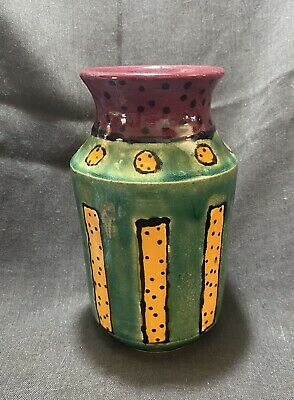 Studio Art Pottery Vase Hand Painted Unique Green Yellow Maroon Glaze Polka Dot