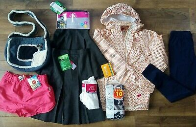 Girls rain jacket, school skirts, shorts, leggings, socks, bag 10-11-12 years