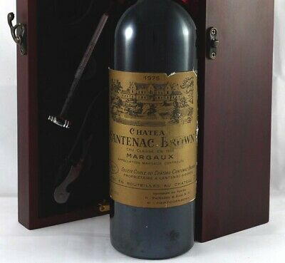 Chateau Cantenec Brown 1975 Margaux vintage wine in a gift box with accessories