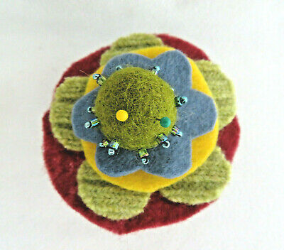 Vintage Felted Wool & Felt Floral on Thread Spool Design Pin Cushion