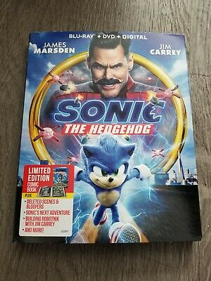Sonic the Hedgehog - w/limited edition comic book! (Blu-ray + DVD, 2020)