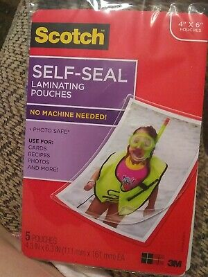 """Scotch 3M Self-Sealing Laminating Pouches 4"""" x 6"""" - 5 Pouches VACATION MAY 28TH"""