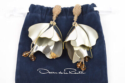 Oscar de la Renta Impatiens silver gold hand beaded petal drop earrings NEW $425