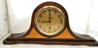 19 Inch Mechanical Wind Antique Sessions Signed Mantle Clock