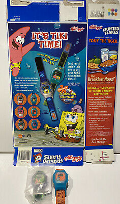 Spongebob Kellogg's 2 Watches, With Frosted Flakes Box
