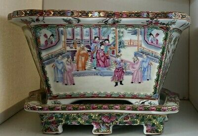 Asian Chinese Famille Rose Porcelain Large Rectangular Planter And Footed Base