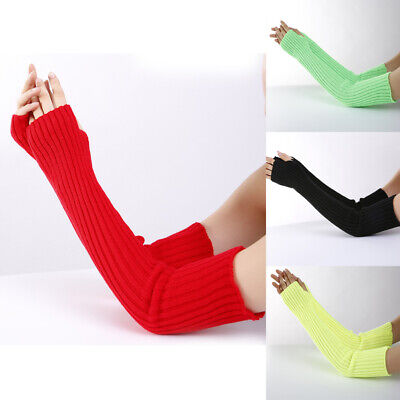 Womens Winter Long Sleeve Fingerless Gloves Knitted Mittens Arm Warmers Sleeves