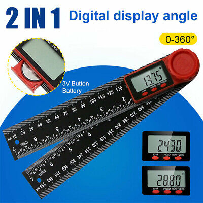 """7"""" 2in1 200mm-Digital Protractor Angle Finder Ruler for Crown Trim Woodworking↙"""