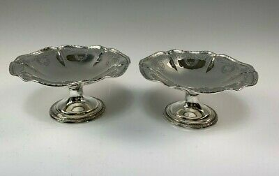 Pair Exquisite Antique Dominick & Haff Sterling Silver Compote Dishes