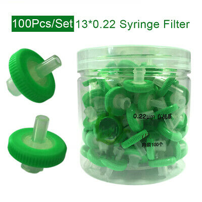 UK 100PCS Disposable PES Syringe Filter 0.22μM Pore Size Diameter for Chemical