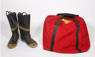 Vintage Servus Firefighter Firebreaker Boots - 11 1/2M  12 1/2W With Red Bag.