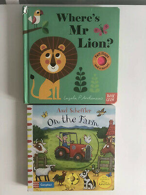 Baby Board Books X 2 Where's Mr Lion & On The Farm