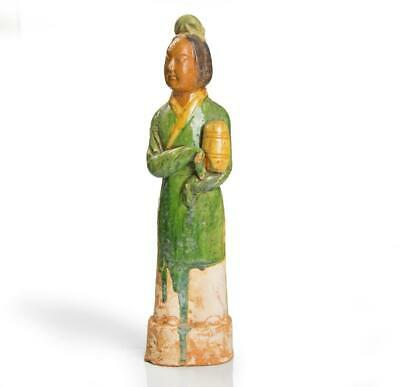 Sancai-glazed Chinese Ming terracotta statuette of a lady: Circa 17th century.