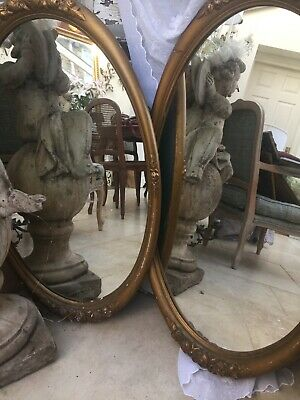 Vintage French Gilt mirrors In Original Condition Oval Big Pair