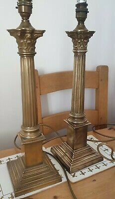 Huge Stunning Rare Pair Of Vintage Laura Ashley Brass Corinthian Lamps