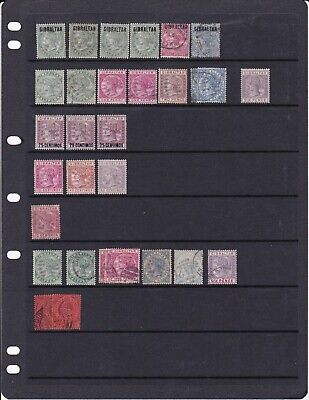 Gibraltar Victoria To Qe2 Mint And Used Collection On 5 Stock Sheets Hi Cat