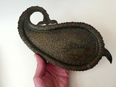FINE ANTIQUE INDIAN KASHMIR KASHMIRI ISLAMIC COPPER ENAMEL LEAF TRAY 19th CENT