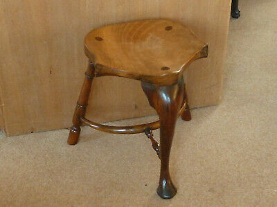 Stewart Linford High Wycombe Yewwood & Elm Three Legged Saddle Seat Stool Vintag