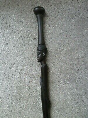 Antique Hand-Carved African Ebony Tribal Walking Stick. With Snake.