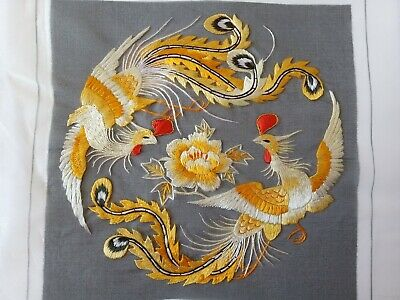 Chinese Double-sided hand embroidered Suzhou embroidery silk art:double phoenix