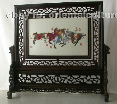 Chinese 100%hand embroidered suzhou double sided embroidery: horses