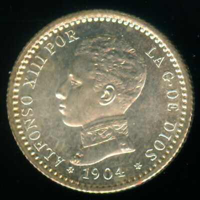 1904 (10 ) Spain Silver 50 Centimos Uncirculated
