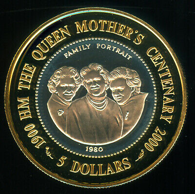 Scarce 2000 Cook Islands Queen Mother's 100 Birthday Silver Proof 5 Dollars