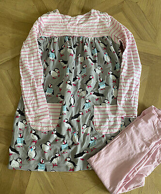 Girls Dress Legging Set Age 5-6 Puffin Pink Grey Stripe Long Sleeve Matching