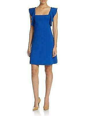 NWT French Connection Marie Ruffled Stretch Shift Dress Electric Blue - 2  $178