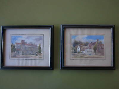 Pair of English Early 19th Century Farmhouse Watercolors 1820